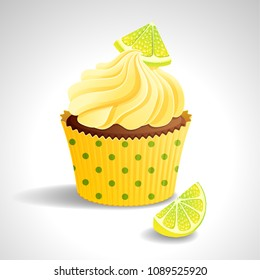 Vector illustration - cupcake with cream and lemon. eps10.
