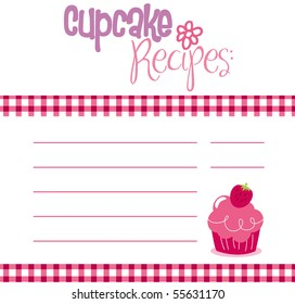 Vector illustration of cupcake recipe template.