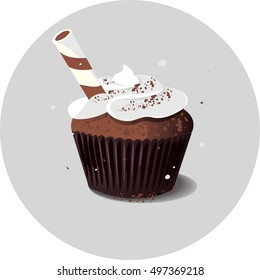 Vector illustration of cupcake with sweet tube isolated on white.