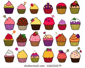 Vector illustration of cupcakes decorated with different sweets.