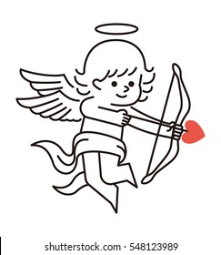 Vector  illustration - cupid with bow and arrow. Vintage Cupid angel. Cupid icon.  Cupid with bow and arrow. Angel of love.