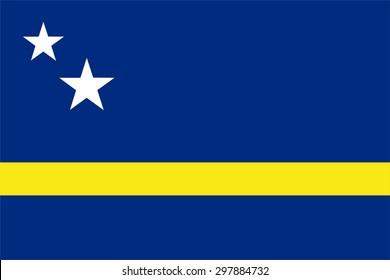 Vector illustration of curacao flag. Rectangular national flag of curacao.