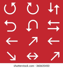 Vector illustration of curved arrow icons.