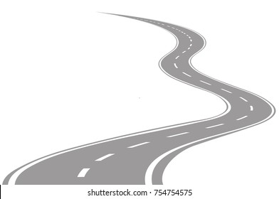 vector illustration of a curvy two way street