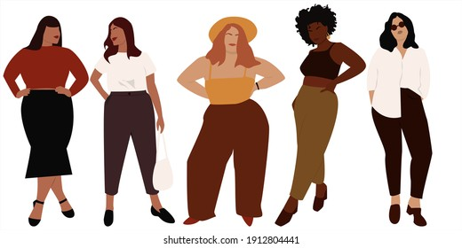 Vector illustration of curvy  women. Body positive movement and beauty diversity. A set of plus size women. Vector stock illustration isolated on white background. EPS 10