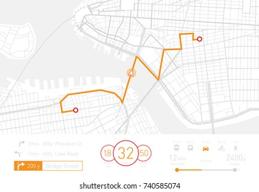 Vector illustration of a custom Navigation system showing a tracking navigation in progress in the streets of New York.