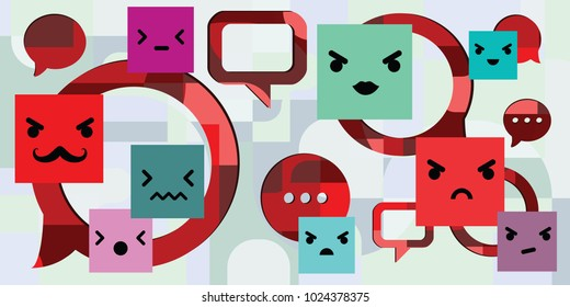 vector illustration of customer complaints and negative comments with angry face symbols