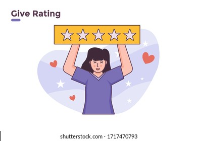 vector illustration customer review five rating stars feedback. banner   give rating online shop taxi booking transportation mobile application concept. please rate us give 5 stars. ui ux web apps.