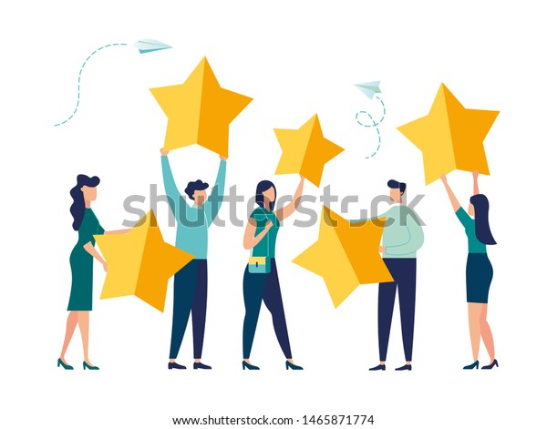 Vector illustration, Customer reviews rating, Different people give a review rating and feedback, Support for business satisfaction vector