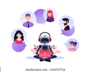 Vector illustration, customer service, chatbot hotline operator advises client, online global technical support 24-7, customer and robot operator. Artificial intelligence consulting people.