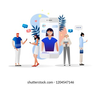 Vector illustration, customer service, female hotline operator advises client, online global technical support 24/7, customers and operator, solving problem, mobile. Characters design