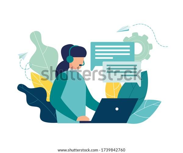 Vector illustration, customer service, hotline operator advises customer, online global technical support 24/7, customer and operator vector