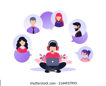 Vector illustration, customer service, male hotline operator advises client, online global technical support 24-7, customer and operator
