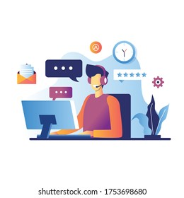 Vector illustration, customer service, male hotline operator advises client, online global technical support 24/7, customer and operator