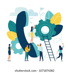 Vector illustration, customer service, online global technical support 24\u002F7, customer and operator, a large handset on which to advise customers