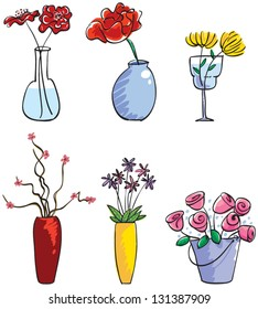 Vector illustration of cut flowers arranged in different vases.