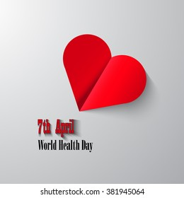 Vector illustration of a cut from red paper heart on the World Health Day. Post card.