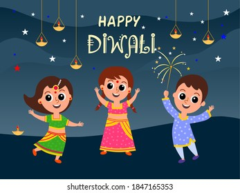 Vector illustration of cute and adorable Indian kids having fun celebrating happy Diwali.