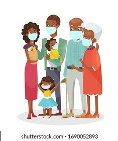 Vector illustration of cute African american family standing together in protection masks isolated on white background. Happy cartoon characters in flat style, stay home concept.