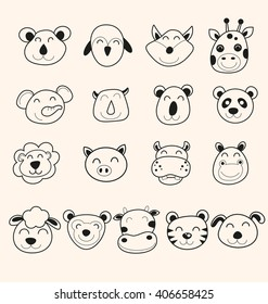 Vector Illustration of  cute animal head