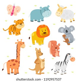A vector illustration of cute animal icons