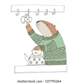 Vector illustration. Cute animal like humans. Humanized animal. Beaver in sweater in the kitchen making tea