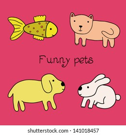 Vector illustration of cute animal set including cat, dog, rabbit, fish