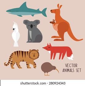 Vector illustration of cute animal set including kangaroo, fox, cockatoo, tiger,shark, kiwi, and koala.
