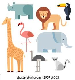 Vector illustration of cute animal set including lion, giraffe, rhino, elephant, toucan, lemur, ostrich and flamingo.