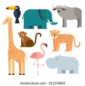 Vector illustration of cute animal set including monkey, giraffe, buffalo, elephant, toucan, leopard, hippopotamus and flamingo.