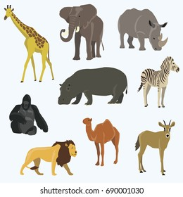 Vector illustration of cute animal set including monkey, giraffe, elephant, zebra, tiger, hippopotamus, antelope, deer, lion