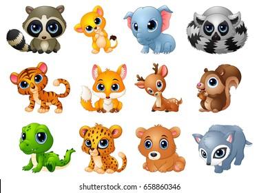 Vector illustration of Cute Animals cartoon set