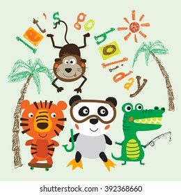 Vector illustration of cute animals including tiger monkey panda bear crocodile. Typography and animal illustration Print design idea for jersey fabrics. Vector design for your projects.