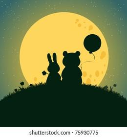 Vector illustration, cute baby animals under moonlight, card concept.