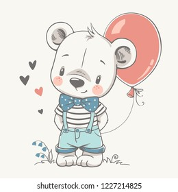 Vector illustration of a cute baby bear with a red balloon.