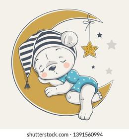 Vector illustration of a cute baby bear, sleeping on the moon.
