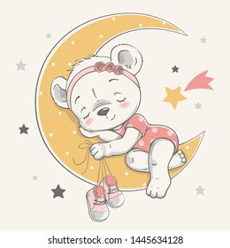Vector illustration of a cute baby bear, sleeping on the moon among the stars.