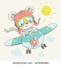 Vector illustration of a cute baby bear, flying on a plane.