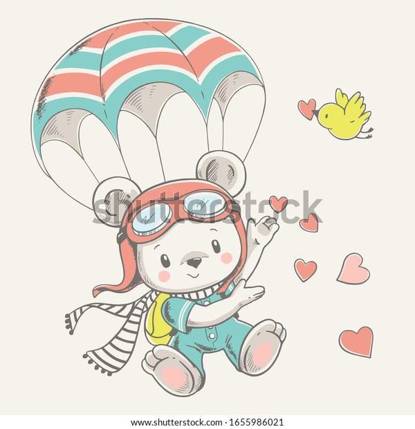 Vector illustration of a cute baby bear parachutist.