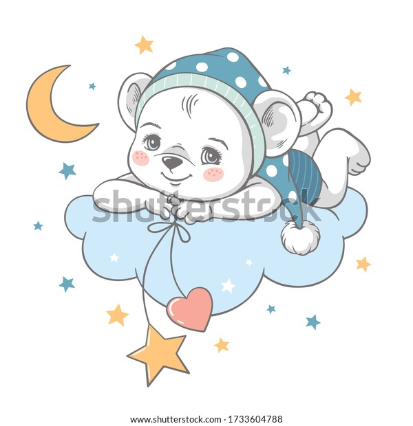 Vector illustration of a cute baby bear in blue nightwear, lying on the cloud among the stars.