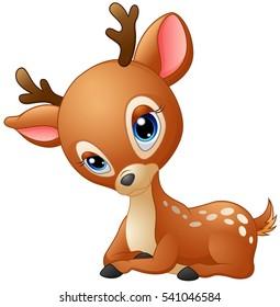 Vector illustration of Cute baby deer cartoon