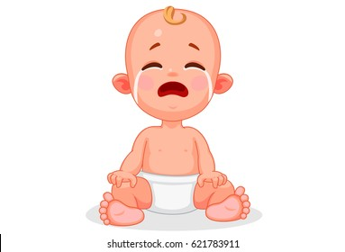 Vector illustration of cute baby with different expressions 6
