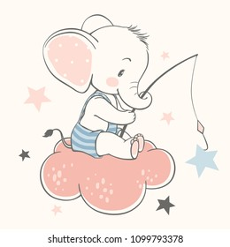 Vector illustration of a cute baby elephant, sitting on the cloud and catching stars.