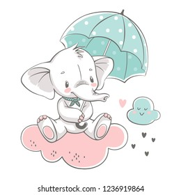 Vector illustration of a cute baby elephant, sitting on the cloud with green umbrella.