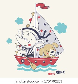 Vector illustration of a cute baby elephant mariner and his dog, sailing on a ship.
