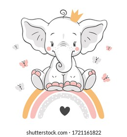Vector illustration of a cute baby elephant, sitting on a rainbow.