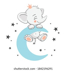 Vector illustration of a cute baby elephant on the blue moon among the stars.
