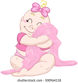 Vector illustration of a cute baby girl hugging a pink blanket.