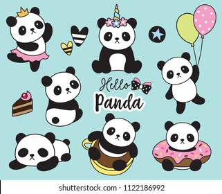 Vector illustration of cute baby panda set.