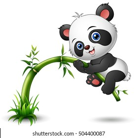 Vector illustration of Cute baby panda tree climbing bamboo